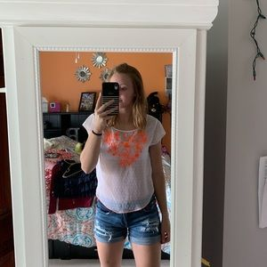 White Hollister Top with Orange Detail
